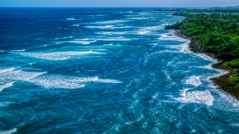 AX101_197.0000207F - Aerial stock photo of Waves rolling in toward a tree-lined Caribbean island coastline in Vega Baja, Puerto Rico