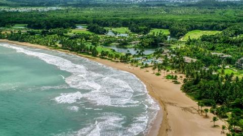 AX102_040.0000000F - Aerial stock photo of The St. Regis Bahia Beach Resort in Rio Grande, Puerto Rico