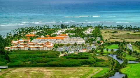AX102_042.0000120F - Aerial stock photo of The Gran Melia Golf Resort in Rio Grande, Puerto Rico