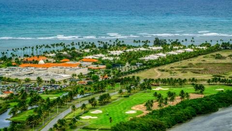 AX102_043.0000152F - Aerial stock photo of The oceanfront Gran Melia Golf Resort in Rio Grande, Puerto Rico