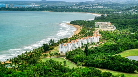 AX102_046.0000000F - Aerial stock photo of Wyndham Grand Rio Mar Beach Resort and Spa, Rio Grande, Puerto Rico