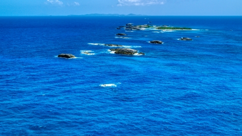 AX102_087.0000074F - Aerial stock photo of Tiny Caribbean islands in tropical blue waters, Puerto Rico