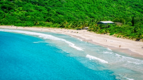 AX102_113.0000000F - Aerial stock photo of Sapphire blue waters by tourists on a white sand Caribbean beach, Culebra, Puerto Rico