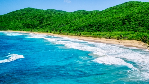 AX102_116.0000269F - Aerial stock photo of Waves rolling toward a Caribbean beach with lush vegetation, Culebra, Puerto Rico