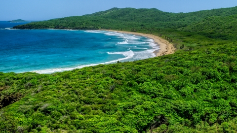 AX102_121.0000000F - Aerial stock photo of Tropical vegetation around a beach and blue waters in Culebra, Puerto Rico