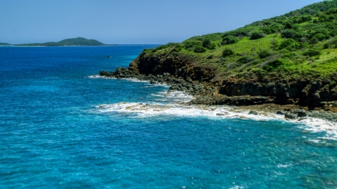 AX102_128.0000342F - Aerial stock photo of A rugged Caribbean island coast and blue water in Culebra, Puerto Rico