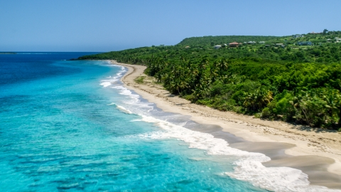 AX102_130.0000151F - Aerial stock photo of Waves rolling toward a Caribbean island beach with palm trees, Culebra, Puerto Rico