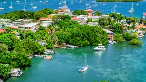 AX102_151.0000138F - Aerial stock photo of Boats docked at an island town on sapphire water, Culebra, Puerto Rico