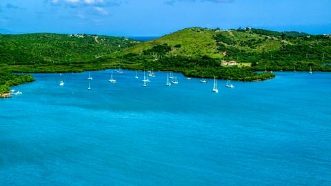 AX102_168.0000000F - Aerial stock photo of Sailboats anchored by a Caribbean island coast, Culebra, Puerto Rico