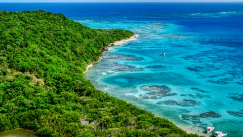 AX102_185.0000000F - Aerial stock photo of Sailboat and reefs by a tree filled island coast, Culebrita, Puerto Rico