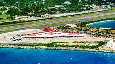 AX102_196.0000000F - Aerial stock photo of Main terminal at Cyril E King Airport, St. Thomas, US Virgin Islands