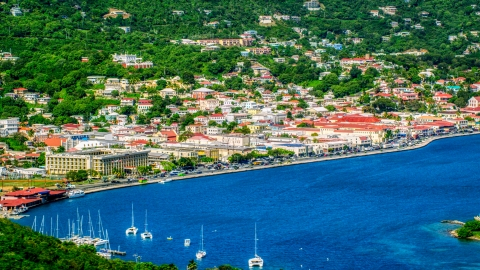 AX102_205.0000000F - Aerial stock photo of The seaside Caribbean island town of Charlotte Amalie, St. Thomas, US Virgin Islands