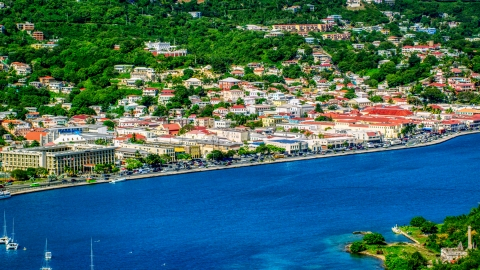 AX102_205.0000209F - Aerial stock photo of The Caribbean island town of Charlotte Amalie, St. Thomas