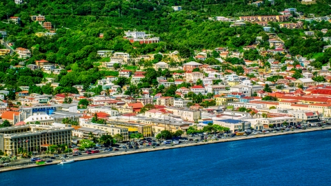 AX102_206.0000308F - Aerial stock photo of The island town of Charlotte Amalie, St. Thomas, US Virgin Islands