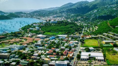 AX102_213.0000000F - Aerial stock photo of View across the Caribbean island town of Charlotte Amalie, St. Thomas