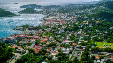 AX102_215.0000000F - Aerial stock photo of View of the harbor and the Caribbean island town of Charlotte Amalie, St. Thomas, US Virgin Islands