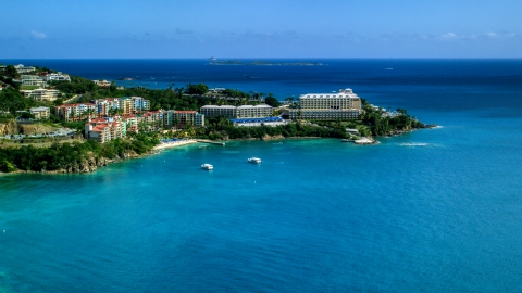 AX102_231.0000270F - Aerial stock photo of Marriott's Frenchman's Cove resort hotel in St Thomas, the US Virgin Islands
