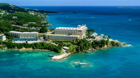 AX102_232.0000186F - Aerial stock photo of Marriott's Frenchman's Cove hotel resort on St Thomas, US Virgin Islands