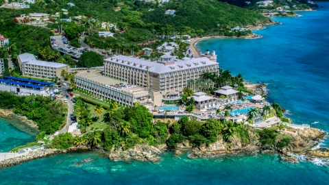 AX102_233.0000000F - Aerial stock photo of Marriott's Frenchman's Cove on the Caribbean island of St Thomas, the US Virgin Islands