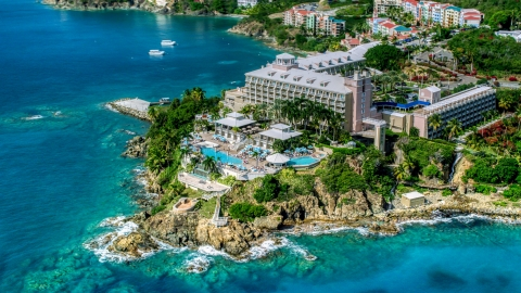 AX102_233.0000299F - Aerial stock photo of Marriott's Frenchman's Cove island resort, St Thomas, US Virgin Islands