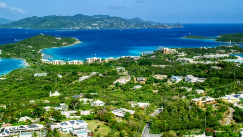AX102_242.0000000F - Aerial stock photo of The Ritz-Carlton resort overlooking Turquoise Bay, St Thomas, the US Virgin Islands