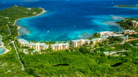 AX102_243.0000000F - Aerial stock photo of The Ritz-Carlton resort and Turquoise Bay, St Thomas, US Virgin Islands
