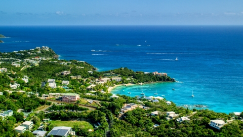 AX102_245.0000000F - Aerial stock photo of Secret Harbor Beach Resort overlooking turquoise Caribbean waters, St Thomas, US Virgin Islands