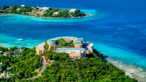 AX102_258.0000000F - Aerial stock photo of Sugar Bay Resort and Spa with ocean views in St Thomas, the US Virgin Islands