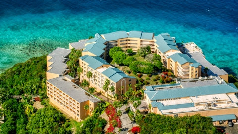 AX102_258.0000357F - Aerial stock photo of The Sugar Bay Resort and Spa in St Thomas, the US Virgin Islands