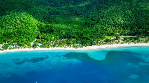 AX102_269.0000000F - Aerial stock photo of White sand Caribbean beach and turquoise blue waters, Magens Bay, St Thomas