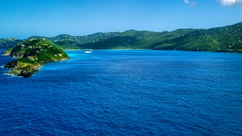 AX102_279.0000000F - Aerial stock photo of Picara Point and Magens Bay, St Thomas, USVI