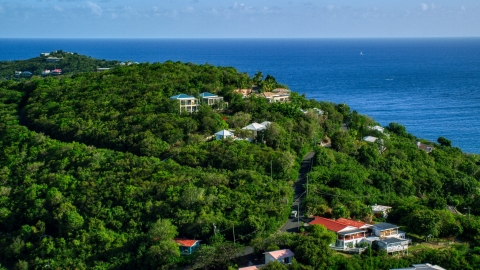 AX103_032.0000016F - Aerial stock photo of Ocean view homes on a green hillside, Cruz Bay, St John