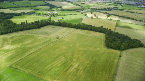 AX109_012.0000084F - Aerial stock photo of Trees around green fields and farms in Stirling, Scotland
