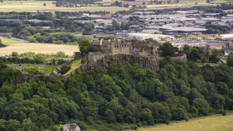 AX109_021.0000000F - Aerial stock photo of Iconic Stirling Castle on a hill in Scotland