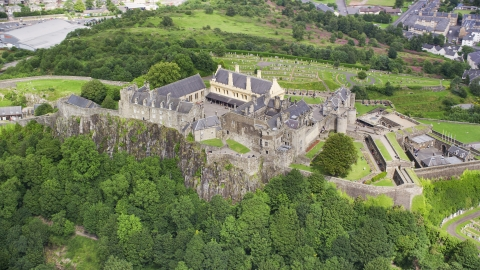 AX109_039.0000000F - Aerial stock photo of The grounds of historic Stirling Castle, Scotland