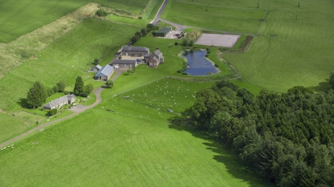 AX109_091.0000000F - Aerial stock photo of A sheep farm and pond, Stirling, Scotland