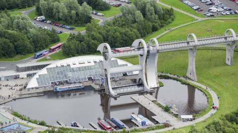 AX109_144.0000000F - Aerial stock photo of Ferries on the Falkirk Wheel boat lift, Scotland