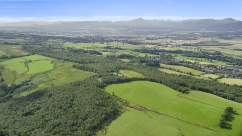 AX110_030.0000000F - Aerial stock photo of Forests and farm fields, Kippen, Scotland