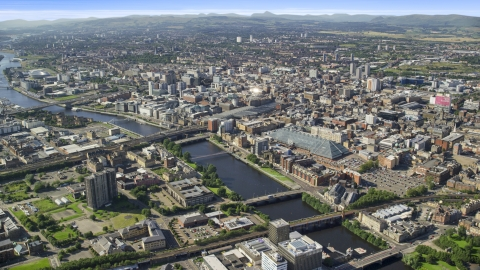 AX110_167.0000000F - Aerial stock photo of River Clyde with bridges by city buildings in Glasgow, Scotland