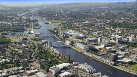 AX110_169.0000000F - Aerial stock photo of Scotland's National Arena and Clyde Auditorium along River Clyde, Glasgow, Scotland