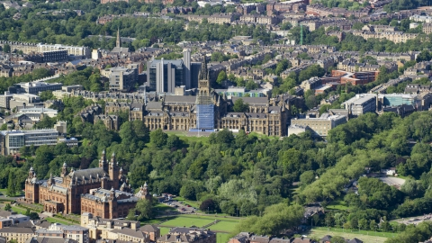AX110_173.0000000F - Aerial stock photo of The University of Glasgow and Kelvingrove Art Gallery and Museum, Scotland