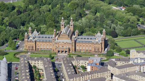 AX110_176.0000000F - Aerial stock photo of The Kelvingrove Art Gallery and Museum, Glasgow, Scotland