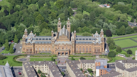 AX110_176.0000105F - Aerial stock photo of The Kelvingrove Art Gallery and Museum in Glasgow, Scotland