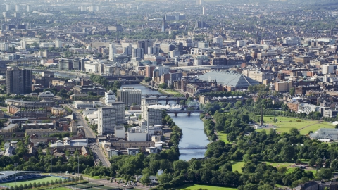 AX110_191.0000000F - Aerial stock photo of The River Clyde flowing through Glasgow, Scotland