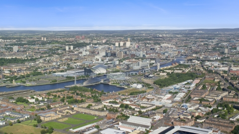 AX110_202.0000000F - Aerial stock photo of The River Clyde and the city of Glasgow, Scotland