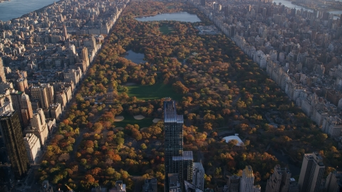AX118_188.0000083F - Aerial stock photo of Central Park with autumn leaves at sunrise in New York City