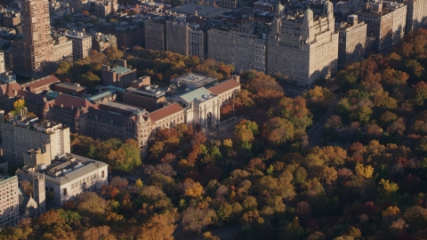 AX118_191.0000274F - Aerial stock photo of Museum of Natural History and autumn leaves at sunrise in Upper West Side, New York City