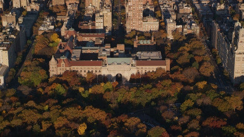 AX118_193.0000177F - Aerial stock photo of Autumn leaves around the Museum of Natural History at sunrise in Upper West Side, New York City