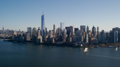 AX119_014.0000244F - Aerial stock photo of The Lower Manhattan skyline in New York City