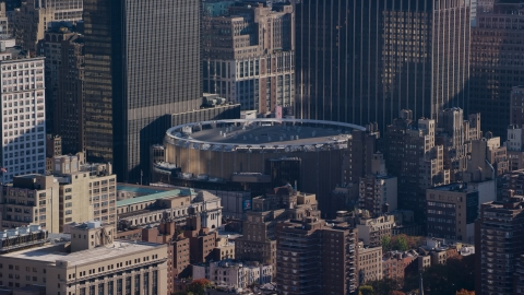 AX119_025.0000126F - Aerial stock photo of Madison Square Garden arena in Midtown Manhattan, New York City